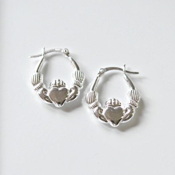 Sterling silver claddagh hoop earrings, irish earrings, celtic hoops, love loyalty friendship, gift for women, geometric, classic jewelry