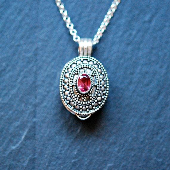 Stash necklace, gemstone snuff pendant, garnet, amethyst, peridot, blue topaz, sterling silver, wish box locket, prayer box, ashes cremation