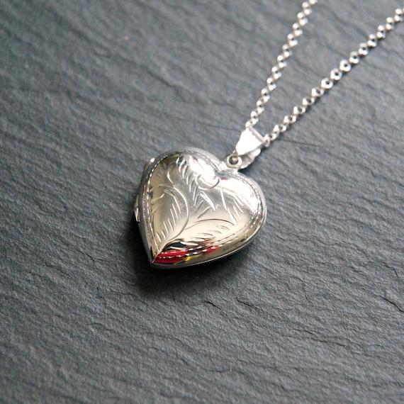 Sterling silver heart locket necklace, large silver locket, engraved heart, gift for women, locket pendant, personalized locket, sentimental