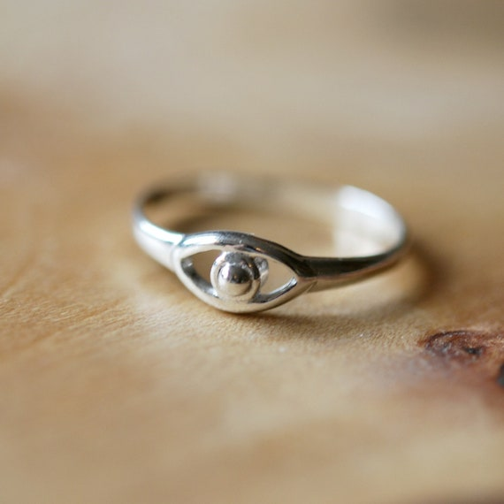 Sterling silver eye ring, rings for women, silver evil eye, protection jewelry, silver stacking ring, greek eye, talisman jewelry