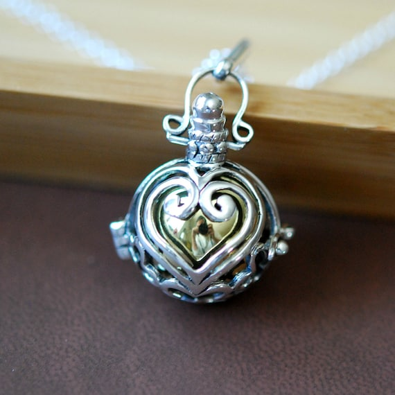 Sterling silver harmony ball necklace, brass harmony ball pendant, bola ball, chime ball, pregnancy jewelry, heart shape, baby shower gift