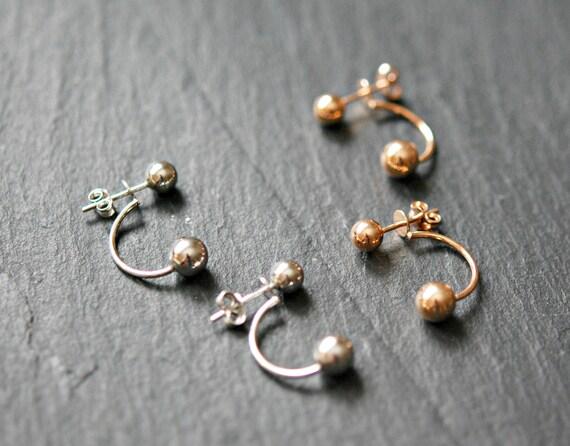 Ball stud ear jackets, sterling silver ball, rose gold ball, double ball, double sided earring, earring jacket, modern earrings, trendy gift