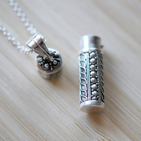Sterling silver snuff necklace, stash necklace, snuff pendant, ashes tube, cremation jewelry, urn pendant, secret jewelry, pinner pendant