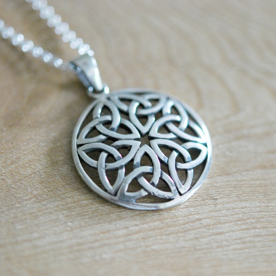Celtic necklace, sterling silver celtic pendant, triquetra symbol, silver celtic knot, irish jewelry, love knot, gift for her