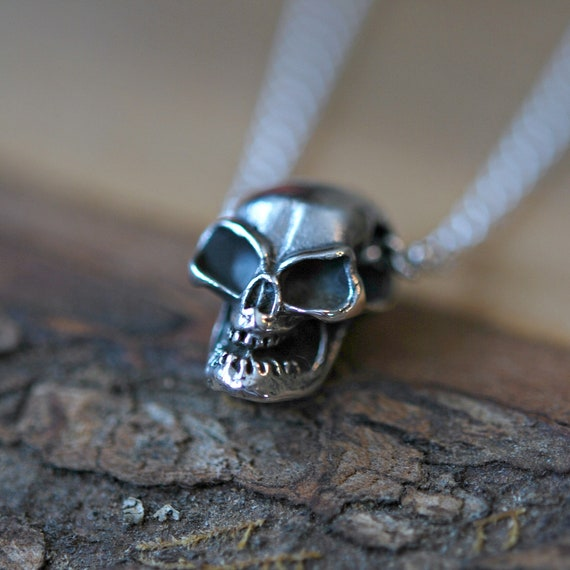 Sterling silver skull necklace, skull pendant, halloween, mens necklace, gift for him, mortician necklace, rockstar jewelry, skull charm