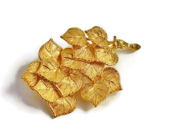 Gold Leaf Cluster Brooch Branch Twig Leaves Vintage Retro Fashion Pin