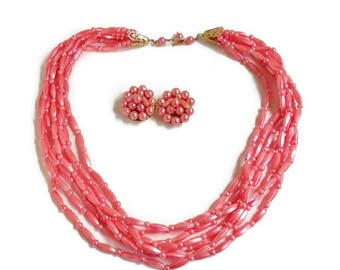 Pink Multi Strand Necklace Plastic Bead Cluster Clip On Earrings Vintage Jewelry Set Signed Hong Kong