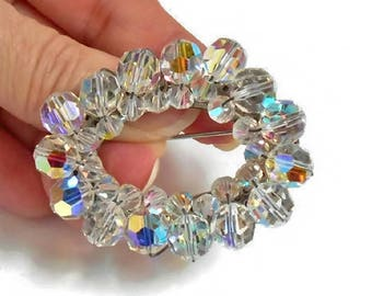 Glass Bead Brooch Aurora Borealis Faceted Clear Crystal Cluster Oval Shape Vintage Pin Silver Back Sparkly