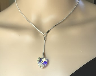Sterling Silver Handmade Y-Style Necklace with Swarovski AB Crystal Heart Pendant