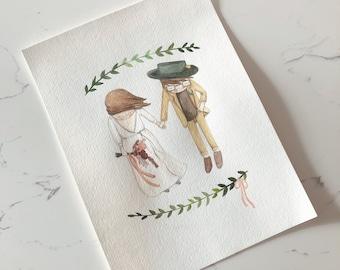 Wedding Couple Custom Watercolor