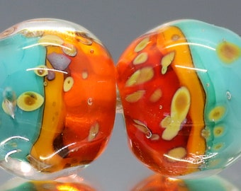 Handmade Lampwork Barrel Nugget Beads~Halo~Bohemian Beads~Gypsy Beads