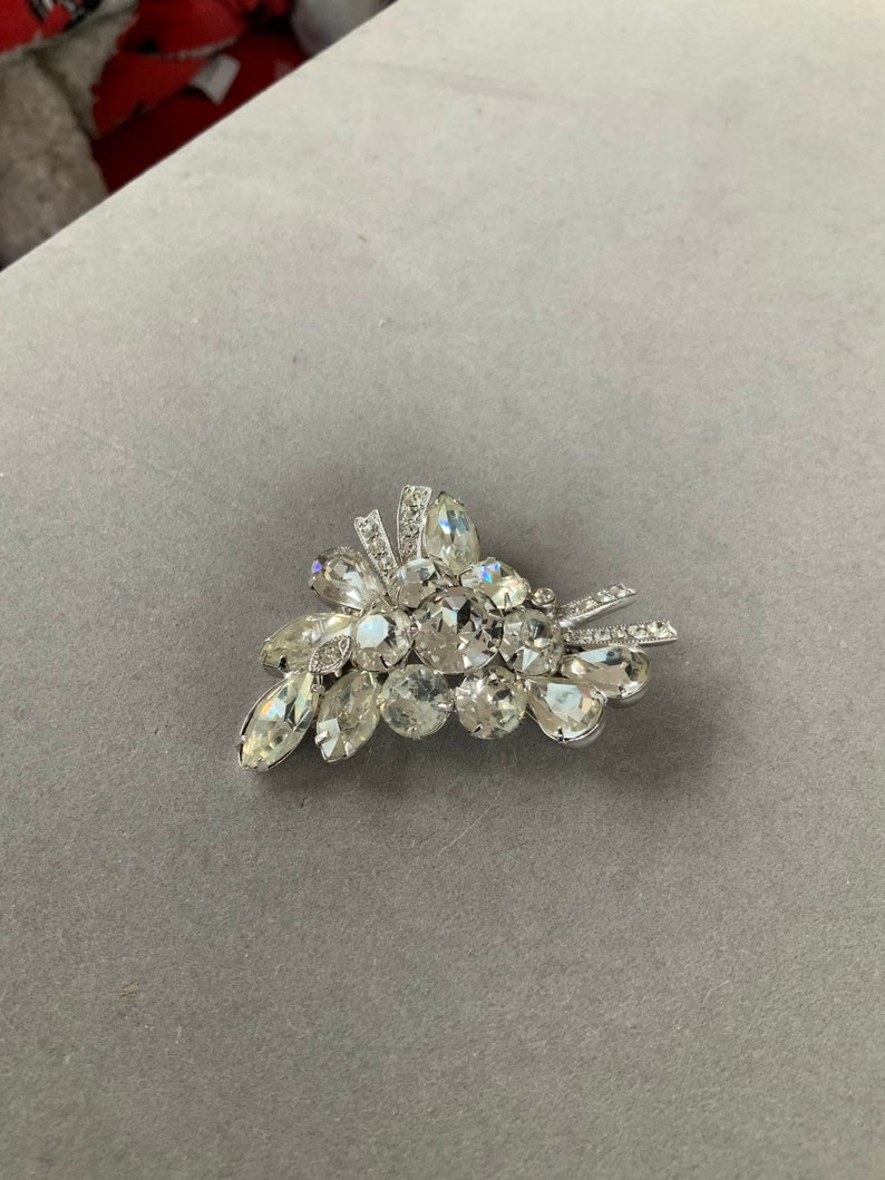 Vintage Eisenberg Ice Glamorous Rhinestone Pin Brooch GLAM Hollywood Style