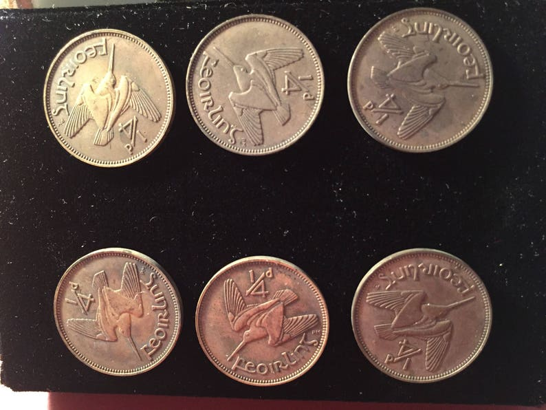 Six vintage authentic Irish Farthings Coins converted to Hasp Buttons 1959