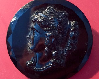 Antique Black Cameo made in Czechoslovakia late Victorian / Edwardian