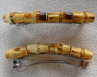 Faux bamboo wood medium//small metal crown hair claw clip barrette