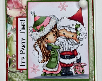 Christmas card, holiday card, greeting card, blank card, party time.