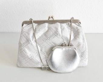 Vintage bridal bag, silver clutch bag, silver bag, metallic bag, silver clutch, silver vintage bag, party bag, bridal bag, wedding bag