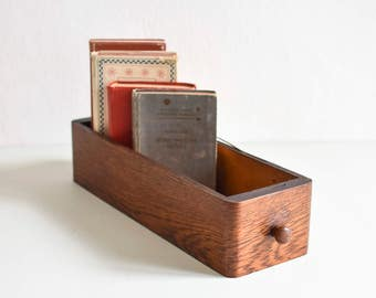 Vintage drawer, card file box, wooden box, wooden drawer, vintage wooden Box, old wooden card file box, wood drawer