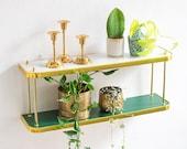 Planter Shelf with brass details in Mid-Century Modern Design