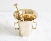 Vintage brass mortar and pestle