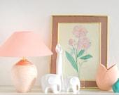 Vintage Flower Print in Brass Frame