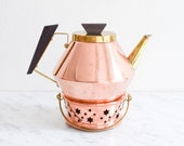 Vintage copper tea kettle tea pot tea pot warmer Mid-Century Modern 1960s