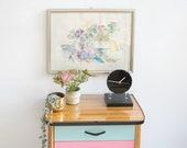 Vintage Framed Aquarelle in Pastel Colors