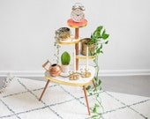 Pink and coral plant stand 60s design