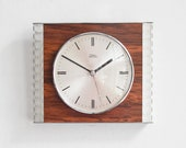 Modern Wall Clock, Diehl Clock, Faux Bois Wall Clock, Clocks for Wall, Mid-Century Wall Clock, Wall Clocks, Mid Cenutry Clock, Wood Optics