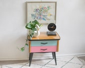 Vintage Bedside Table with Pastel Colors