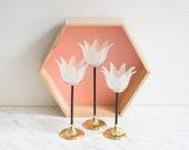 Tulip Candle Holder, Glass Candlestick Holder, Teelight Candle Holder, Floral Candlestick Holder Set