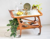 Wooden Mid-Century Bar cart with patterned glass top
