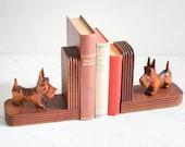 Wooden scottish terrier dog bookends, Scottish Terrier decor, Scottie dog books ends, bookends hand carved, dogs wood,  Ref: 814