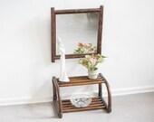 Vintage Hallway Rattan Mirror with Rattan Shelf