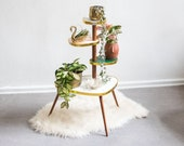 Plant table white marbled 60s design