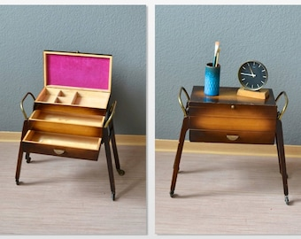 16bf8a3fb Vintage sewing basket coffee table bedside table jewelry box nightstand Mid-Century  Modern 60s