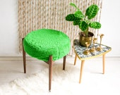 Mid-Century Modern wooden stool in palm green