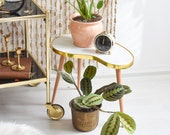 Indoor plant stand, Marbled plant stool, marbled kidney table, indoor plant stand, mid century coffee table, plant tables stands, planter