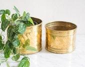 Brass planters diameter 20 - 17 cm set of 2, Vintage brass planters, brass pots, brass gardening, brass decor, vintage brass