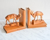 Wooden bookends, vintage bookends, animal bookends, animal gift, book worm gift, reading gift, book gift, rustic decor, Mid-Century decor