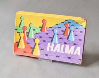 Halma game, board game Halma, vintage board game, wooden game 60s, wooden Halma game, vintage game wood, Halma board game