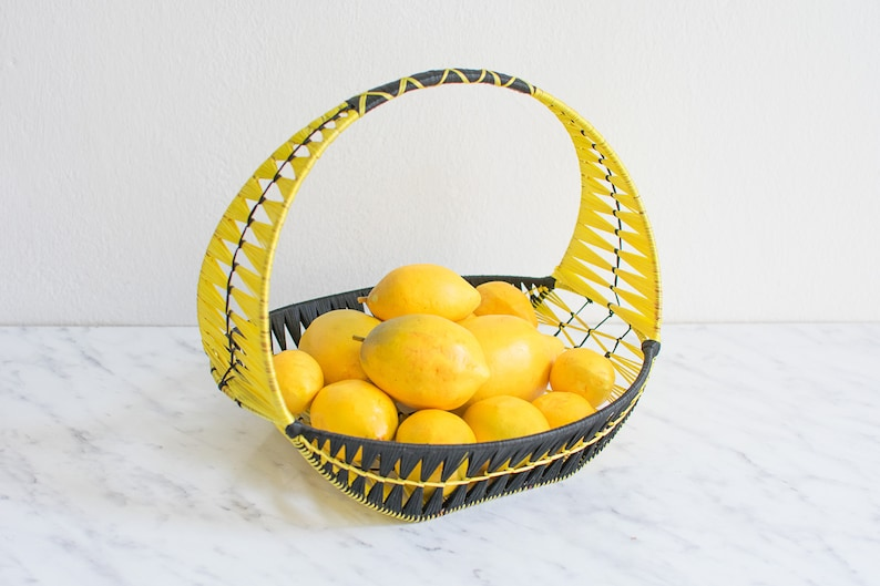 rustic decor woven fruit bowl rustic home decor fruit bowl 60s decor Banana boat banana bowl