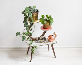 Plant Stand Tiered, Tiered Plant Stand, Plant Stand, Mid Century Plant Stand, Plant Stands Indoor, Vintage Plant Stand, Kidney Table, boho