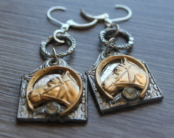 Art Deco Horses Earrings, silver filigree assemblage Dangle Earrings Repurposed, brass stampings, Eclectic, One of a kind