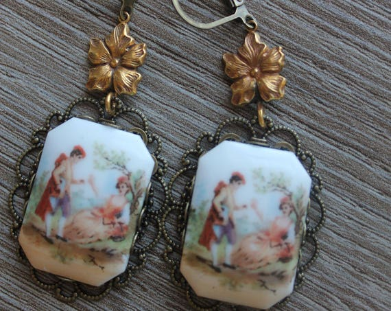 Victorian Pastoral Drop earrings, LIMOGE CAMEOS, filigree assemblage Dangle Earrings Repurposed, brass stampings, Eclectic, One of a kind