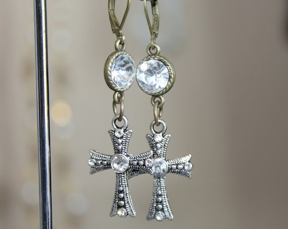 "Dangle Earrings ""Silver Cross"" Silver Vintage assemblage Repurposed, Variations, Catholic Medals, Crystals, OOAK, Religious"