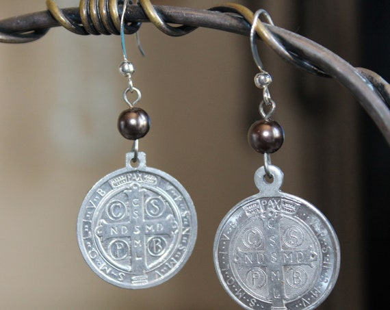 "Dangle Earrings ""Sacred HEART"" Silver Vintage assemblage Repurposed, Variations, Catholic Medals, Crystals, OOAK, Religious"