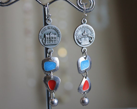 """Dangle Earrings """"ST John and St Peter"""" Silver Vintage assemblage Repurposed,  Catholic Medals, Crystals, OOAK, Religious"""