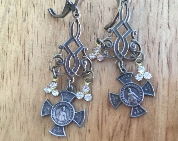 French Cross Dangle, rhinestones charms, chandelier earrings, assemblage Repurposed,  Art Deco,  Vintage beads, Crystals, Pearls