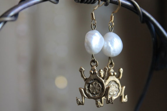 The Happy Froggy  assemblage Earrings ,  Brass Frog Stamping, Real Baroque Pearls, Gold plated hooks, OOAK